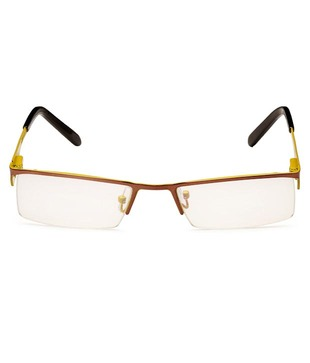Spice Yellow & Brown Semi-Rimless Optical Frame