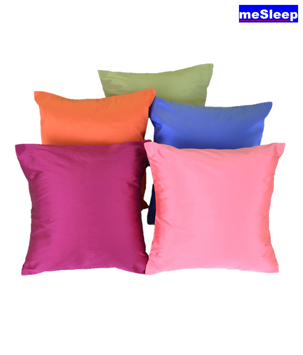 MeSleep Taffeta Silk Cushion Covers (12x12 inches)