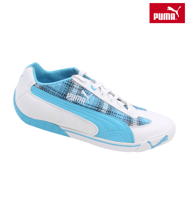 Puma Calm Blue & White Lace-up Shoes