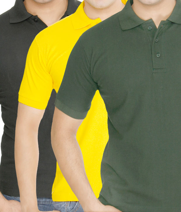 Weardo Yellow-Green-Black Pack Of 3 Polo T-Shirts
